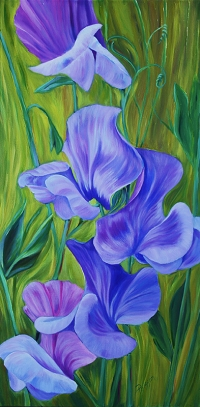 Violet Sweetpeas SOLD
